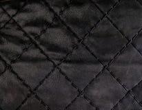 黑色缝制的皮革backgound 免版税库存图片
