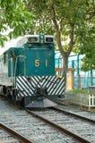 绿色老火车 免版税库存图片
