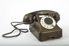 黑色老电话 免版税库存图片
