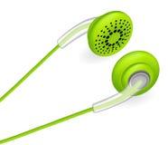 绿色耳机 也corel凹道例证向量 免版税库存照片