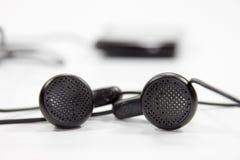 黑色耳机 免版税库存照片