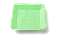 绿色聚苯乙烯泡沫塑料盘子 免版税库存图片