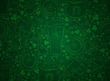 绿色背景为与误码率的Patricks天抢劫,马掌,帽子, 皇族释放例证