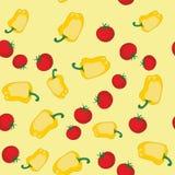 黄色胡椒和蕃茄无缝的纹理564 皇族释放例证