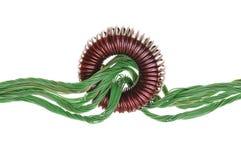 绿色能量,与卷的铜电缆 免版税库存照片