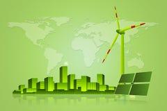 绿色能量-太阳电池板、风轮机和都市风景 库存图片