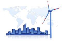 绿色能量-风轮机和都市风景 免版税库存图片
