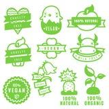 绿色自然,自由素食主义者、的惨暴和有机产品贴纸和象在传染媒介 免版税库存照片