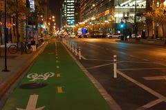 绿色自行车车道在晚上 库存图片