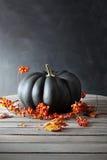 黑色色的南瓜用莓果和叶子 免版税库存照片