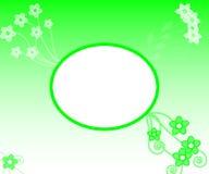 绿色花剪影copyspace背景 免版税库存照片