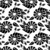 黑色花卉模式无缝的白色 光栅剪贴美术 库存照片