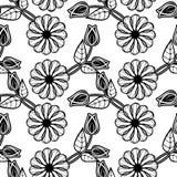 黑色花卉模式无缝的白色 光栅剪贴美术 免版税库存照片