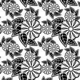 黑色花卉模式无缝的白色 光栅剪贴美术 免版税库存图片