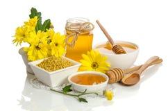黄色花和蜂产品蜂蜜,花粉 免版税图库摄影
