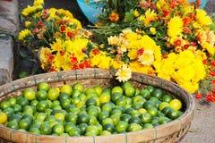 黄色花和绿色石灰 免版税图库摄影