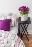 紫色花在一间明亮的卧室 库存图片