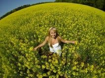 黄色花的领域的一个美丽的女孩 免版税图库摄影