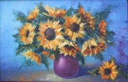 黄色花花束在花瓶,静物画的 皇族释放例证