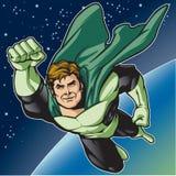 绿色英雄飞行 库存照片