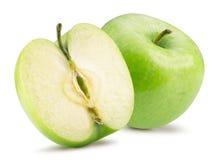 绿色苹果和一半与在白色背景隔绝的叶子 免版税库存图片