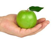 绿色苹果在手中 免版税库存照片