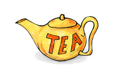 黄色茶壶 库存图片