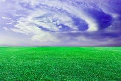 绿色草坪天空背景 免版税库存图片