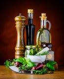绿色草本、食物调味料和橄榄油 免版税库存图片