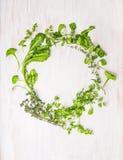 绿色草本花圈在白色木的 免版税库存照片