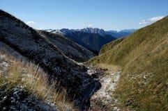 绿色草甸和美丽的阿尔卑斯/南部蒂罗尔在意大利 免版税图库摄影