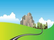 绿色草甸的城市 库存例证