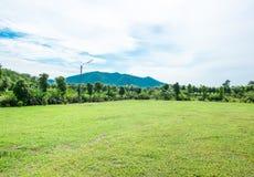 绿色草甸顶视图风景有蓝天和山的在 免版税库存图片