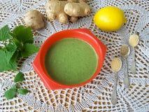 绿色荨麻薄煎饼 图库摄影