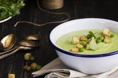 绿色菠菜和浓豌豆汤用油煎方型小面包片 库存照片