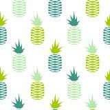 绿色菠萝无缝的果子样式 免版税库存照片