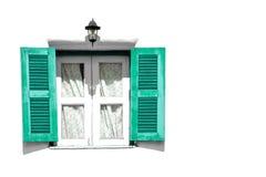 绿色葡萄酒木头窗口 免版税库存照片