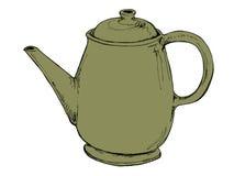绿色葡萄酒茶壶 免版税库存图片