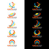 黄色蓝色橙色圈子波浪线商标传染媒介设计 免版税库存图片