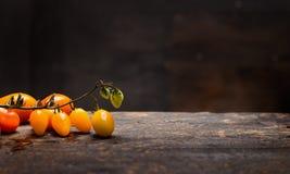 黄色蕃茄在黑暗的木背景,健康食物的土气桌上分支 图库摄影