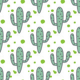 绿色薄荷的仙人掌传染媒介无缝的样式 免版税库存图片
