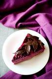紫色蛋糕蛋白牛奶酥黑醋栗片断  免版税库存图片