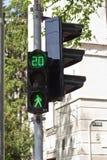 绿色行人交通光 免版税库存图片