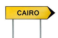 黄色街道概念标志在白色隔绝的开罗 免版税图库摄影