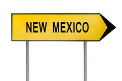 黄色街道概念标志在白色隔绝的新墨西哥 免版税库存照片
