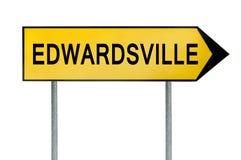 黄色街道概念标志在白色隔绝的Edwardsville 免版税图库摄影