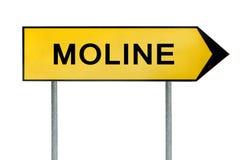黄色街道概念标志在白色隔绝的Moline 免版税库存图片