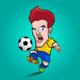 黄色衬衣戏剧橄榄球动画片 库存图片
