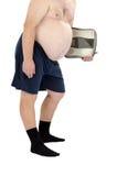 黑色袜子的肥胖人与标度 库存照片