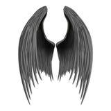 黑色被折叠的天使翼 免版税库存图片